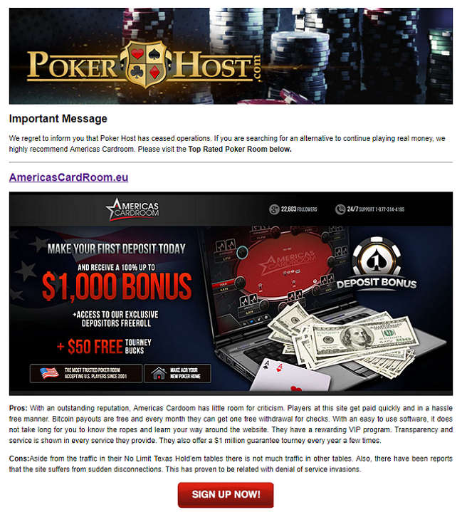 PokerHost Website Message to Would-be Customers