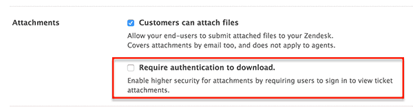 ZenDesk Settings Screenshot Showing How to Require Authentication