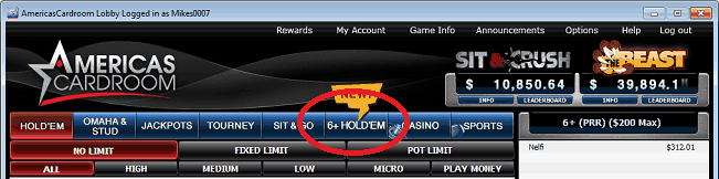 Six Plus Hold'em Tab in ACR Software