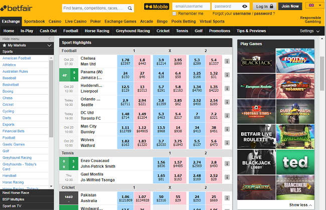 Betfair Home Page Image