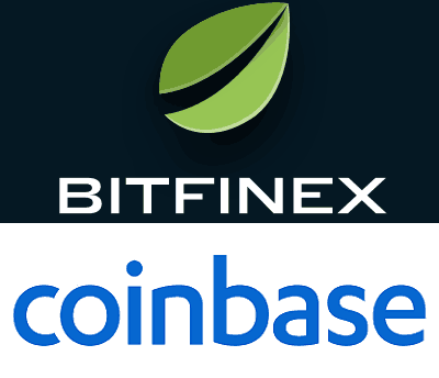 Logos of Bitfinex and Coinbase