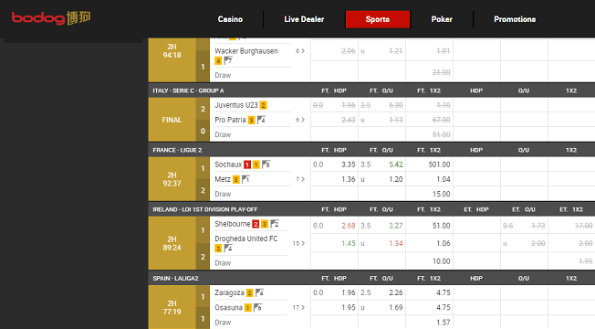The Live Betting Section of Bodog88