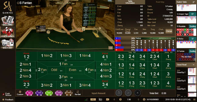 Fan Tan Table in Bodog88 Live Dealer Casino