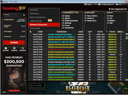 MTT Lobby at Bodog88 Poker