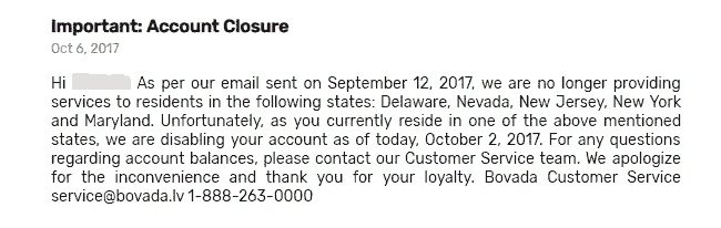 In October 2017, Bovada Closed All NY Accounts