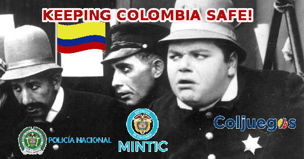 Image Depicting National Police, MinTIC, and Coljuegos as Keystone Kops