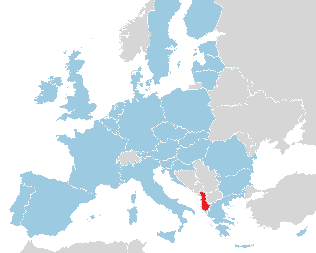 Map of the EU and Albania