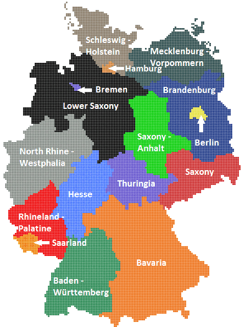 German Map Showing All 16 States