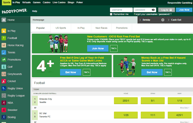 Website of Paddy Power