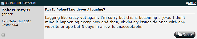 Twoplustwoer Frustrated at Continuing Server Downtime