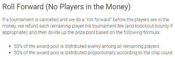 PokerStars Tournament Cancellation Policy When Not Yet in the Money
