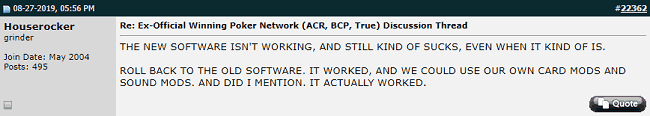 Twoplustwo Post Critical of ACR's Software