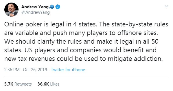 Andrew Yang Tweet in Favor of Online Poker Legalization