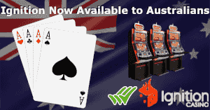 Australian flag with various gaming icons with ignition casino
