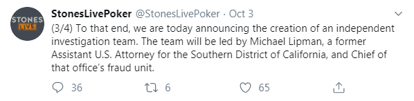 Stones Gambling Hall Tweet About Investigation