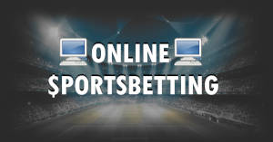 A stadium with online sportsbetting text and computers