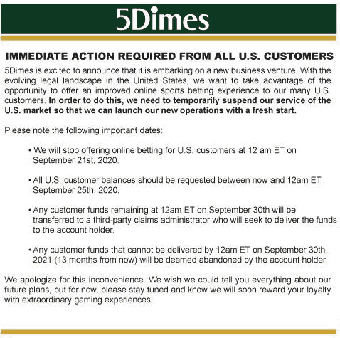 Message From 5Dimes About Departure From USA