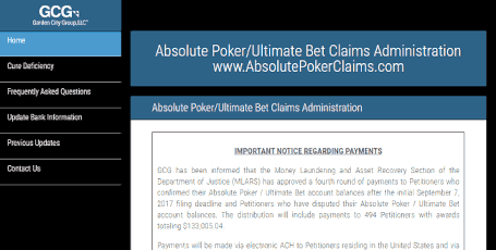 Website for Absolute Poker Claims