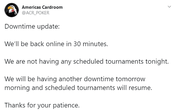 ACR Tweets About Downtime