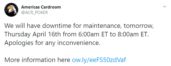 Tweet About ACR Scheduled Maintenance