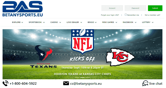 Homepage of BetAnySports
