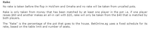 BetOnline Old Rake Rules
