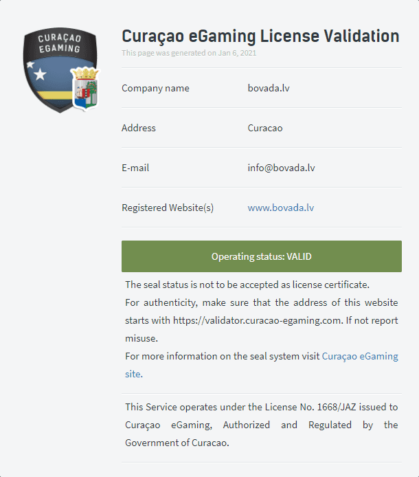 License Validation Page for Bovada.lv