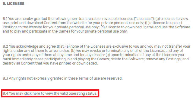 Portion of Bovada's Terms of Service