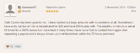 Cafe Casino User Always Receives Money in 72 Hours