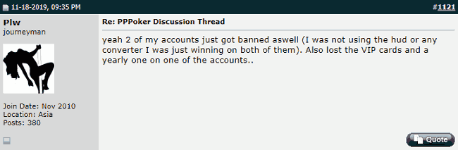 Twoplustwo Post About PPPoker Account Bans