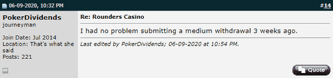 Positive Comment About Rounder Casino at Twoplustwo