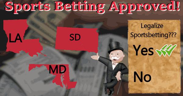 SD, MD, LA Approve Sports Betting