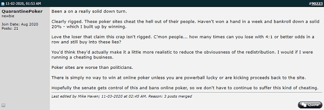 Online Poker Rigged Theory Post