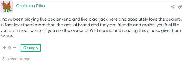 Customer Loves Live Dealer Games at Wild Casino