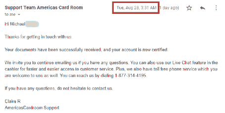 Americas Cardroom Support Email Concerning Account Verification
