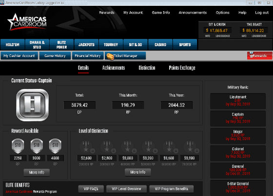 Screenshot of Elite Benefits Display at Americas Cardroom