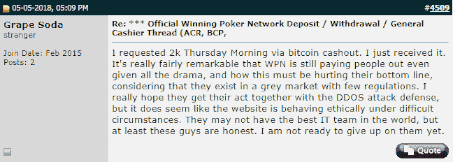 Comment on DDoS Affecting WPN Payouts