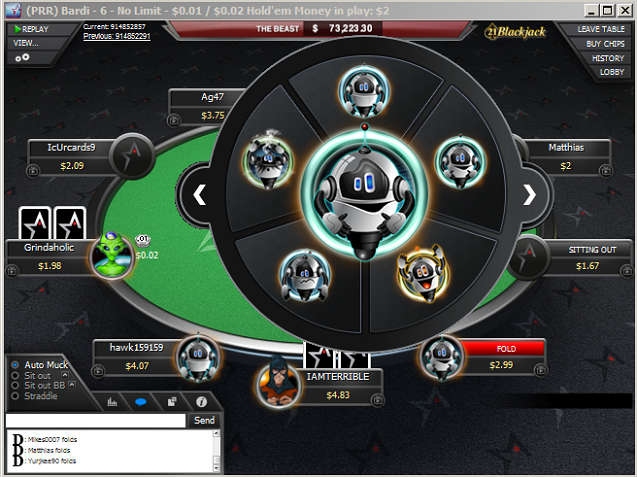 Americas Cardroom Avatar Selection Interface