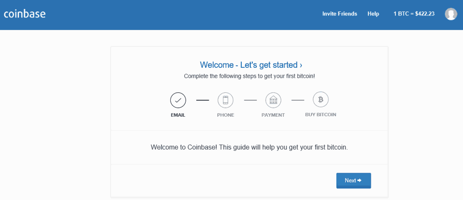 Account Setup at Coinbase