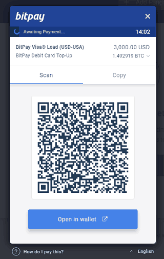 Invoice for Adding Funds to a BitPay Card