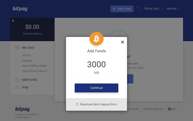 Adding Funds to the BitPay Card