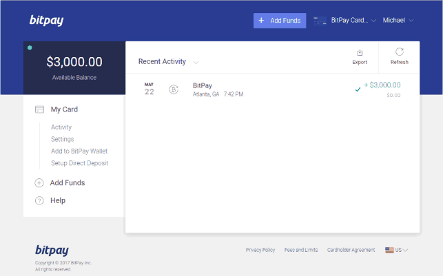 BitPay Account With Funds Added to Card