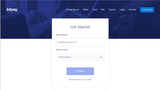 Start the BitPay Card Application
