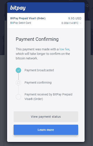Waiting for BitPay Card Payment Confirmation