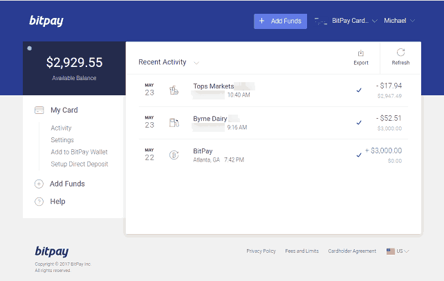 BitPay Account Showing Transaction History