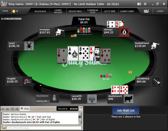 Juicy Stakes cash game table