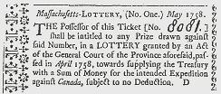 Lottery Ticket from Colonial Massachusetts