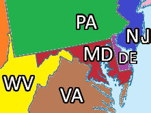 States Adjacent to Maryland