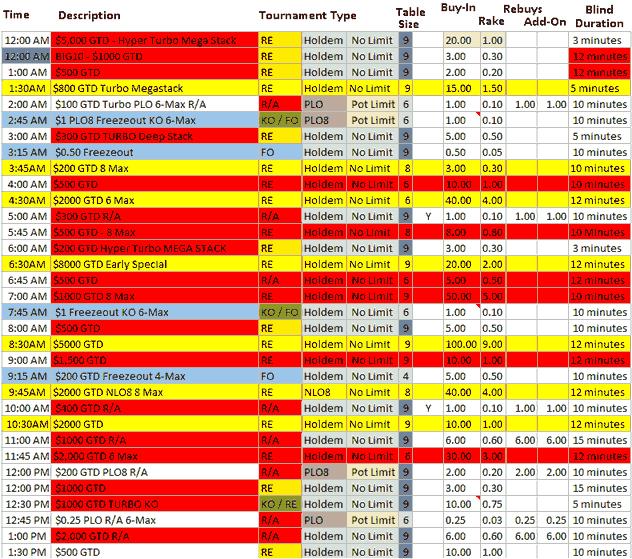 Poker Tournament Schedule