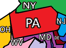 States Abutting Pennsylvania